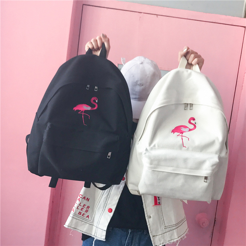 Fashion Women Harajuku Flamingo Embroidery Backpack Travel Backpack School Students Canvas Rucksack Popular цены