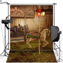 MEHOFOTO New Fabric Polyester Photography Background For Kids Merry-Go-Round Vinyl Background For Children Photo Studio 2167