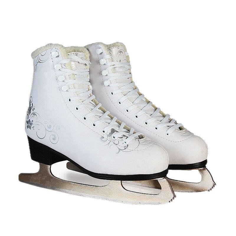 VIK-MAX sortie d'usine blanc figure skate chaussures deux tailles gauche glace skate chaussures pas cher figure skate chaussures