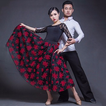 2017Hot Sale Lady Ballroom Dancing Skirt Red&Black Skirts Pretty Glossay Design For Tango Dance Culottes Ballroom Dance Clothe