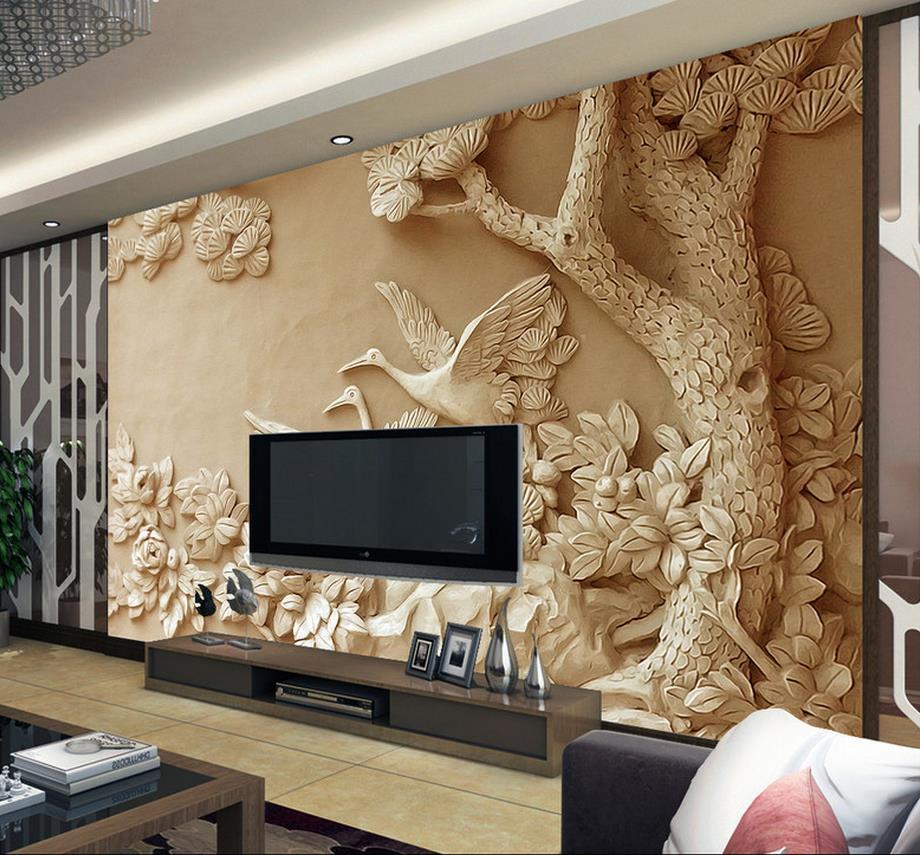custom 3d wall mural European Relief tree photo wallpaper for living room 3D mural bedroom wallpaper free shipping european 3d relief murals aisle porch corridor classical style wallpaper rich tree rose vase mural