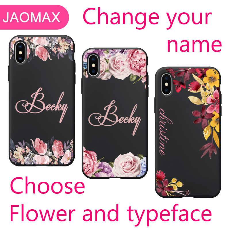 db52a9a982e21 Jaomax DIY Floral Cases Personalized Design Flower Name Custom For iPhone  XR XS MAX 7 5 6s 8 Plus X Customized Black Case Cover