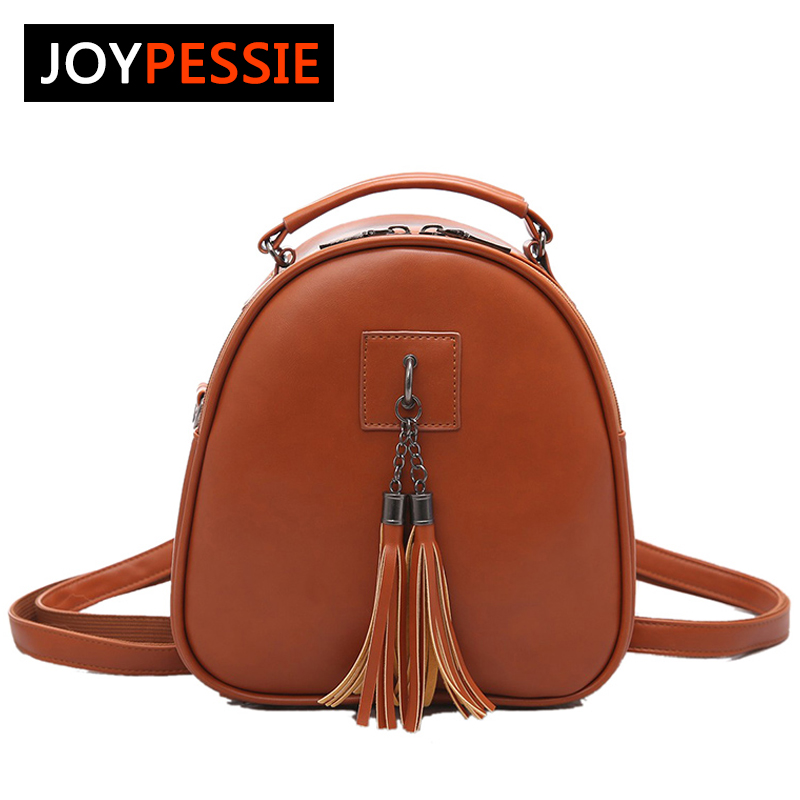 Joypessie Women's Leather Backpack mini Tassel backpack women PU back pack backpacks for teenage girls Rucksack Shoulder bag joypessie composite women backpack pu leather backpack for teenage girls female school backpack with shoulder purse