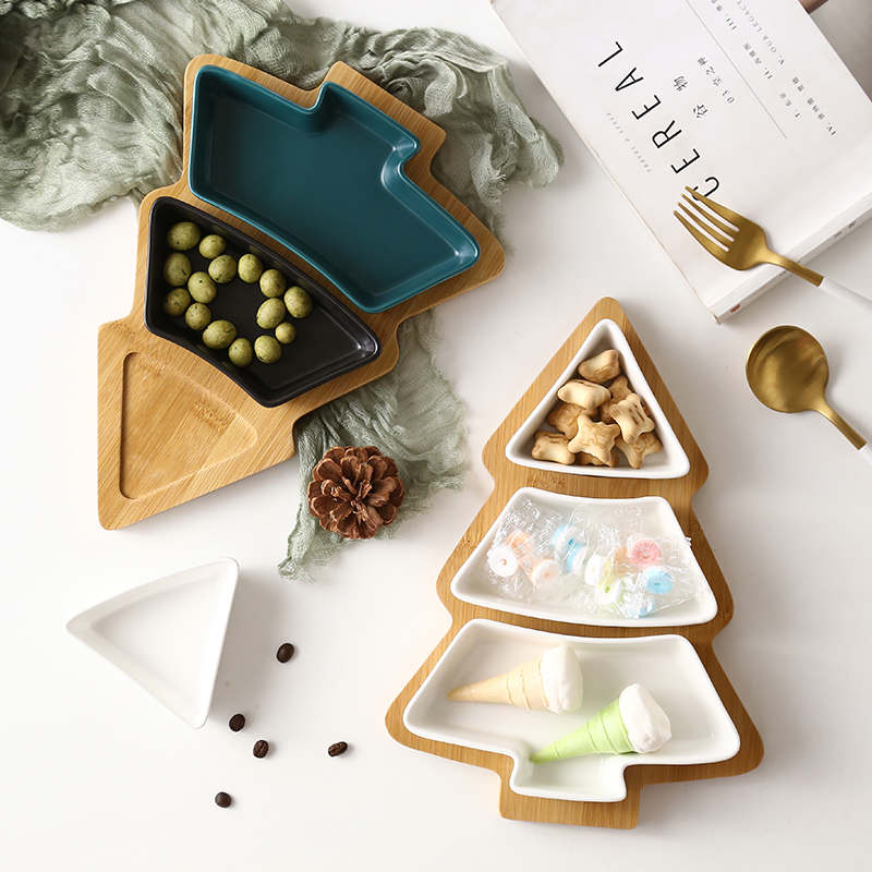 Household Items Wooden Tray Ceramic Fruit Tray Christmas Tree Storage Dish Snack Dessert Platter Kitchen Storage Tool Accessorie