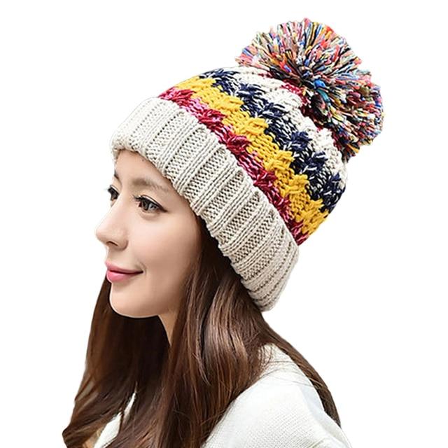 cd7ae21f3b69c Shevipshe Otoño Invierno Sombreros Mujeres Ganchillo Gorro de Punto  Patchwork Señoras Del Diseño de Lana Gruesa
