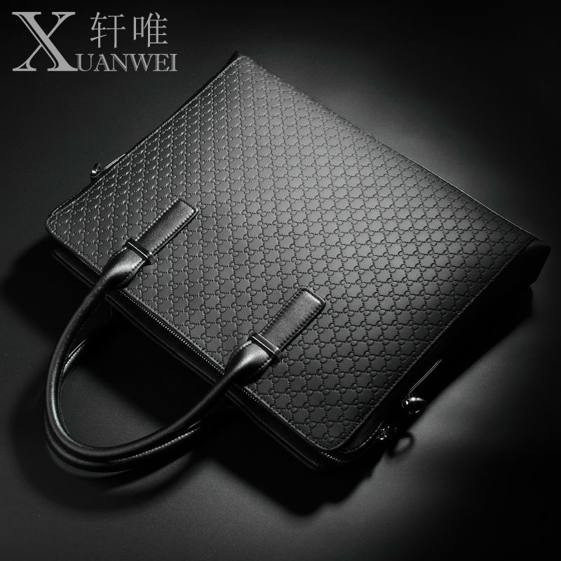 XuanWei Newest Luxury 8 Pattern 100% Genuine Leather Black Multi-interbedded Laptop Bag Business Men Briefcase Handbags (XW-707)