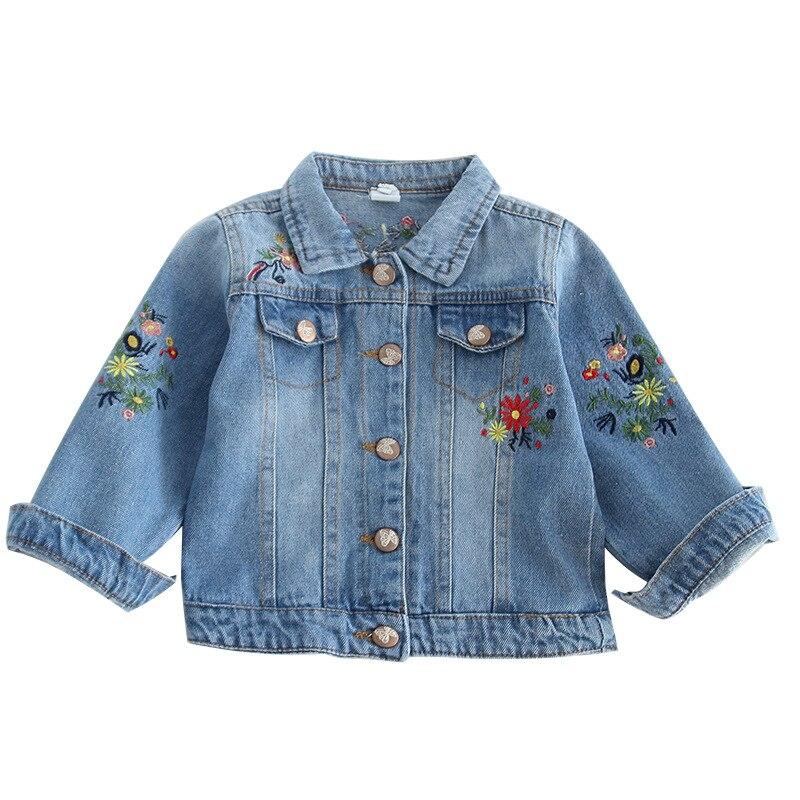 Girls' clothing jacket embroidery lapel Short denim jacket Cotton denim sand wash Tide style jacket patch design distressed denim jacket