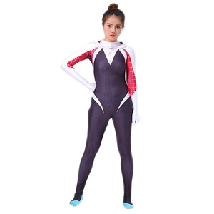 Image 3 - Spider Gwen Costume Stacy Cosplay Hoodie Mask Zentai Into the Spider Verse Adult Kids Bodysuit Skin Suit Halloween Cosplay
