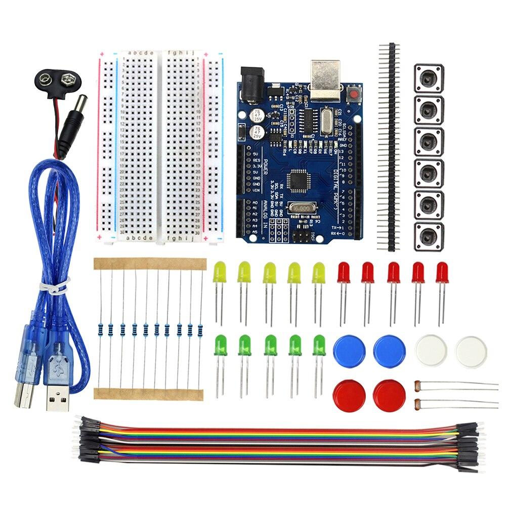 Starter Kit UNO R3 Mini Breadboard Pulsante Ponticello LED per arduino Compatile con UNO R3