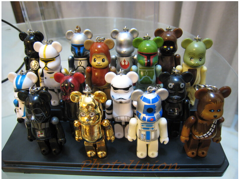 Free Shipping (16 pieces/lot) Star Wars x Bear Cute Pendants STARWARS Special Editions Ursa Toy Model Rogue One Bear Figures Set
