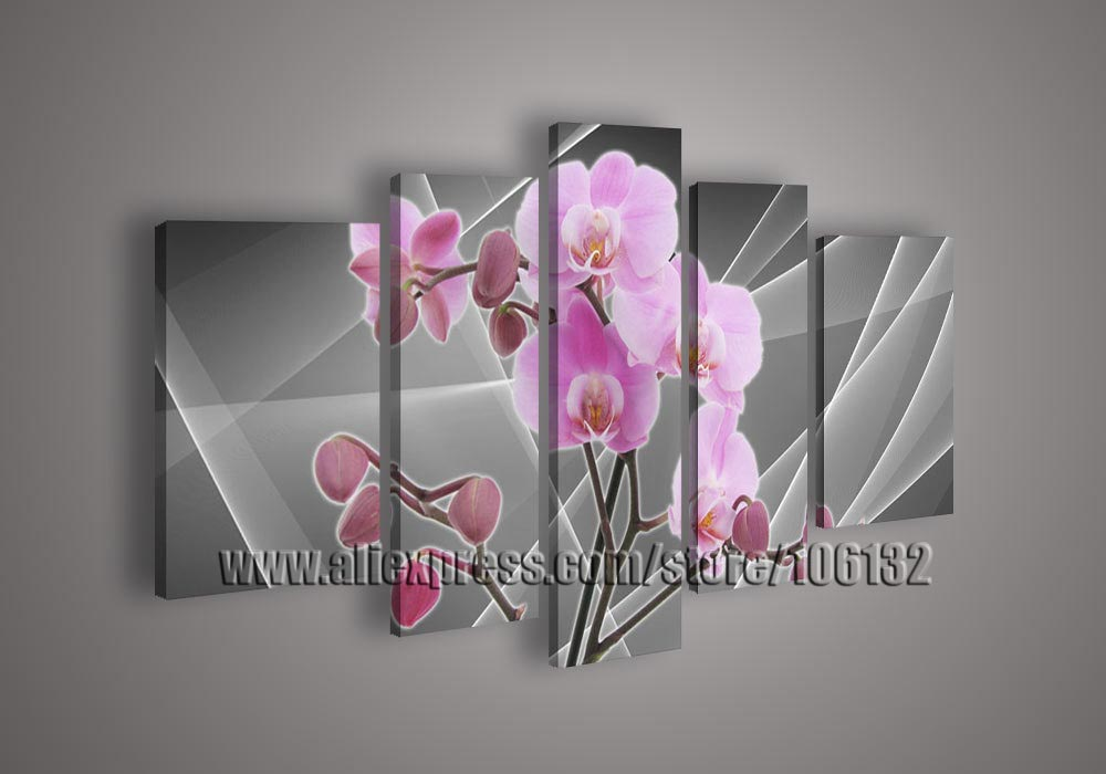 Framed 5 Panel Large Pink Orchides Flower Oil Paintings 5 Piece