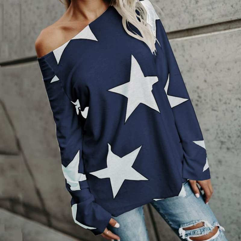 Korean Fashion Tunic Star Printed Open One Shoulder White Women T Shirt Long Sleeve O Neck Sexy Vogue 2019 Girls Tee Black Top
