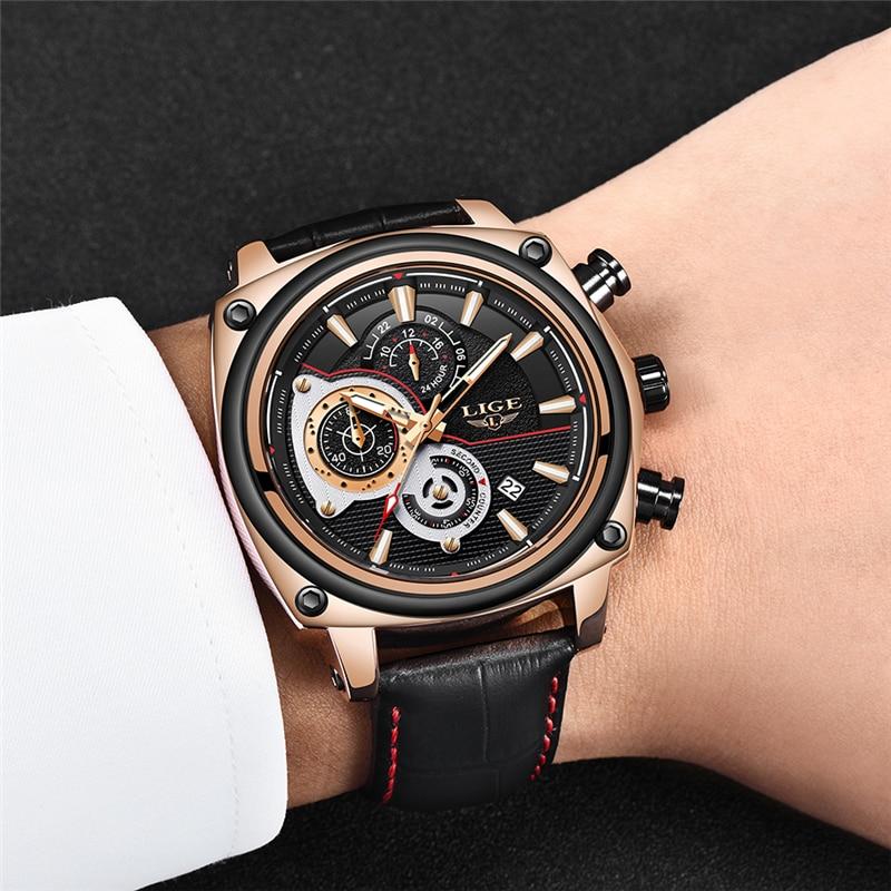 LIGE Top Brand Luxury Men 39 s Watches Men Leather Quartz Watch Man Military Clock Sport Watch Relogio Masculino Montre Homme 2019 in Quartz Watches from Watches