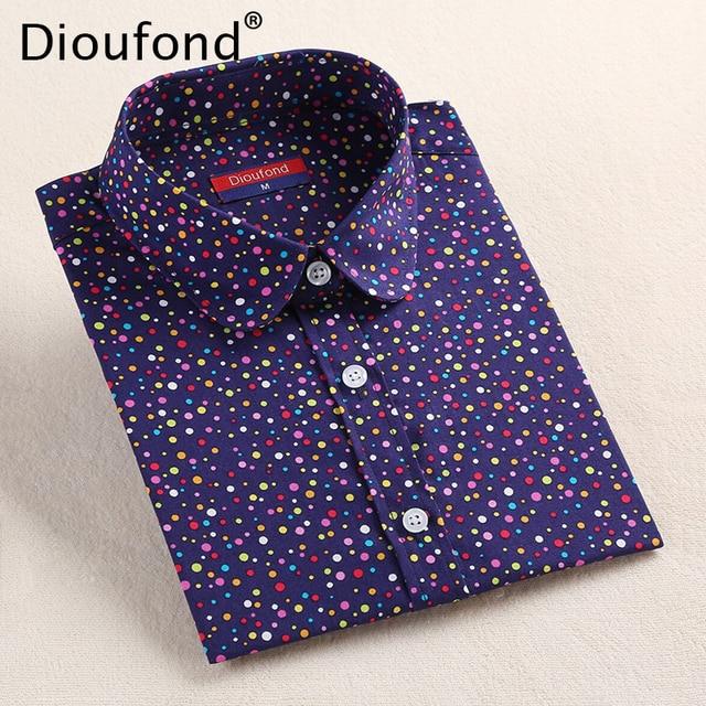 Dioufond Мода 2017 г. горошек блузка рубашка с длинными рукавами Для женщин Блузки для малышек хлопок Для женщин Рубашки для мальчиков красные, синие в горошек Топ blusas Для женщин Топы корректирующие