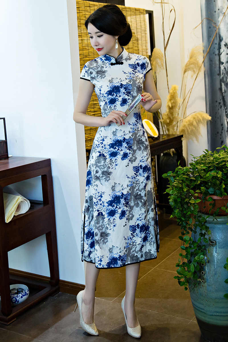 Весенние длинные Cheongsam тонкие цветочные повседневные винтажные женские платья хлопок традиционный костюм в стиле династии Тан Qipao платье