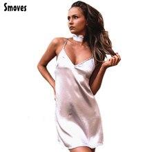 Criss smoves a-line satin shinning slip vestidos silk cross v dresses