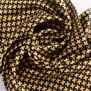 Image 4 - [Bysifa] Mannen Zwarte Goud Zijde Sjaals Winter Mode Accessoires 100% Natuurlijke Zijde Mannelijke Plaid Lange Sjaals Das 160*26Cm