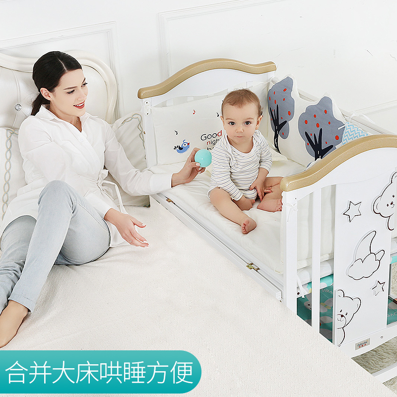 Joint Parents Bed 0-6 Years Baby Bed Solid Wood European Multifunctional White Baby Bb Cradle Bed Two Layer Children Bed