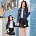 2016 spring autumn fashion denim coat jacket mom daughter coat Family Matching Outfits mother and daughter clothes family look