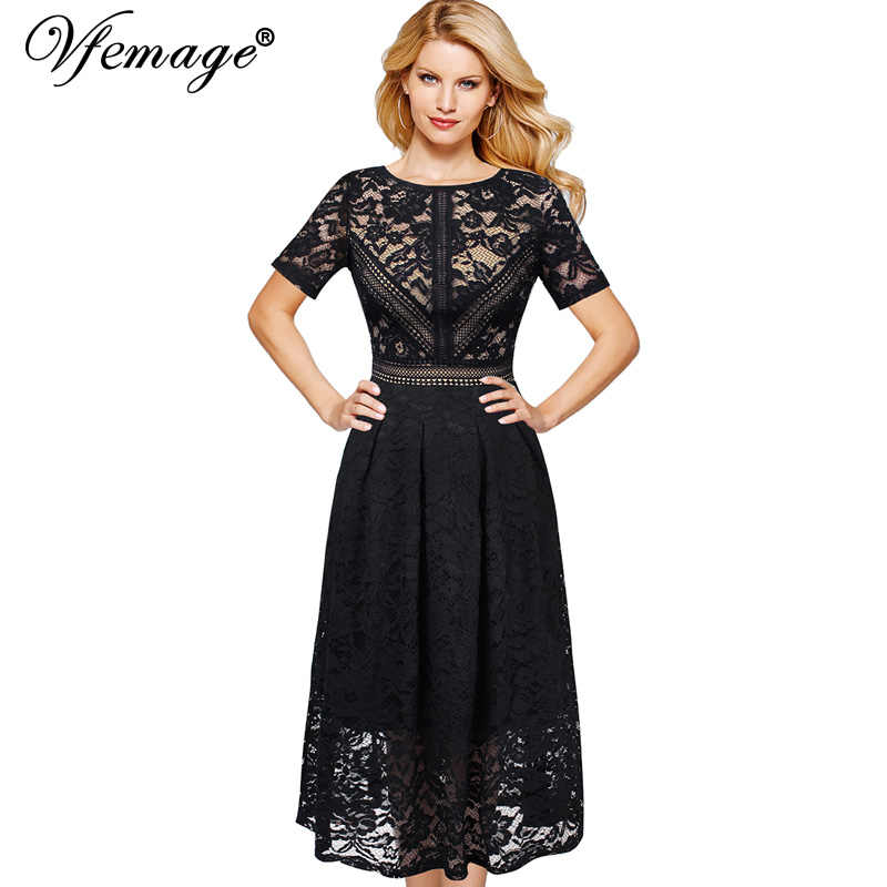 Vfemage Womens Vintage Retro Volledige Bloemen Kant Contrast Patchwork Cocktail Wedding Party Flare Swing Skater A-lijn Midi Jurk 113