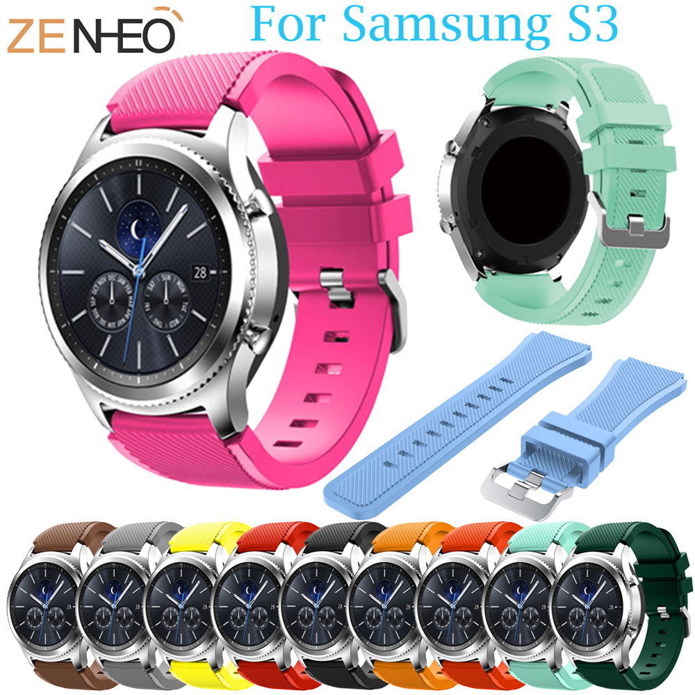 Sport Silicone Strap for Samsung Gear S3 S3 Frontier/Classic band bracelet 22mm wrist bands replacement rubber belt 2018 New silicone sport watchband for gear s3 classic frontier 22mm strap for samsung galaxy watch 46mm band replacement strap bracelet
