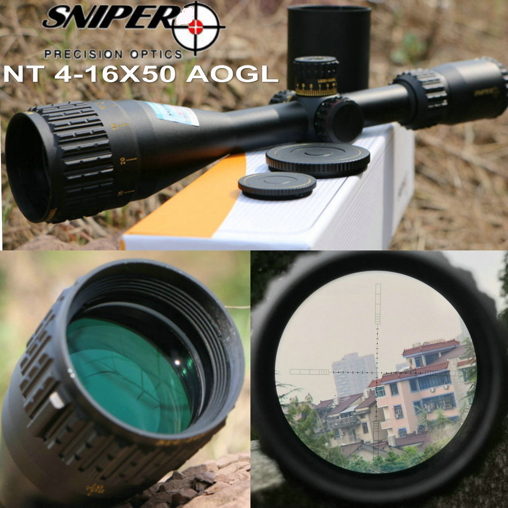 SNIPER NT 4-16X50 AOGL Hunting Riflescopes Tactical Optical Sight Full Size Glass Etched Reticle RGB Rifle Hunting Rifle Scopes tactical 4 16x50 hunting scopes rgb optic riflescopes airsoft hunting luneta para rifle caza sniper scopes