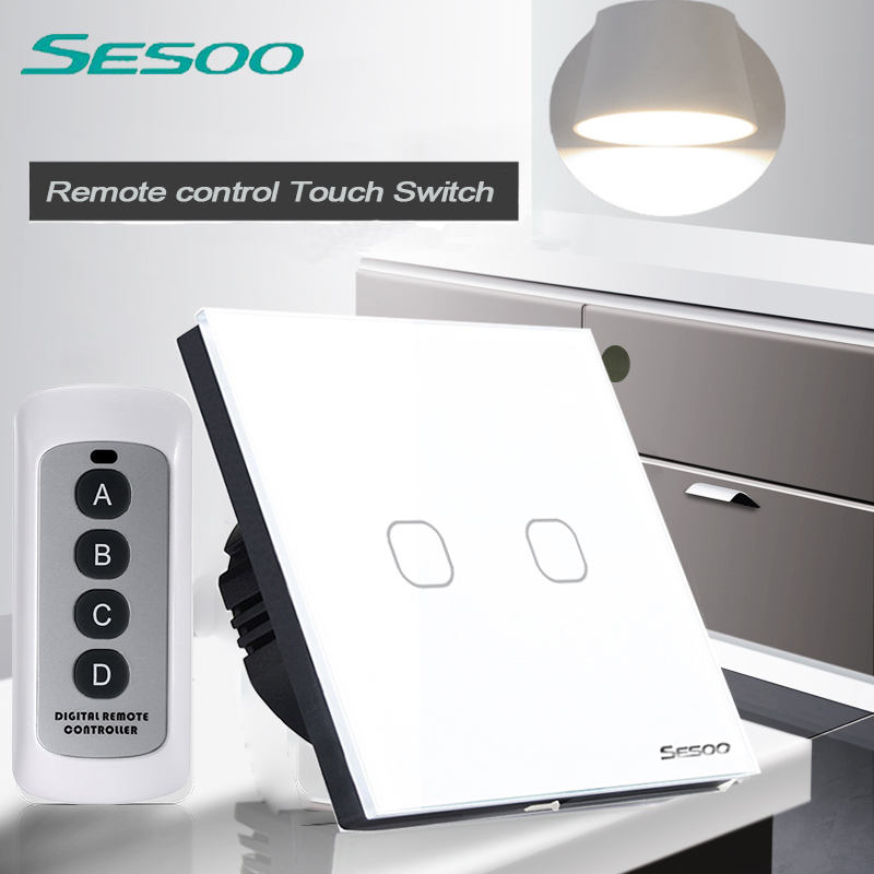 EU/UK Standard SESOO 2 Gang 1 Way Remote Control Switch ,Black Crystal Glass,Remote Wall Touch Switch+LED Blue Indicator eu uk standard sesoo remote control switch 3 gang 1 way wireless remote control wall touch switch crystal glass switch panel