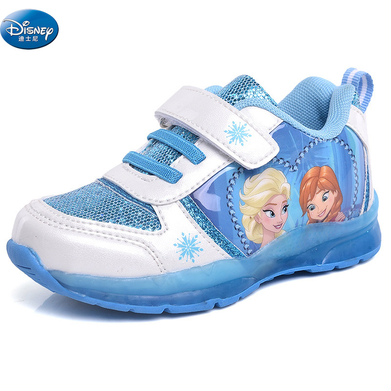 Girls Frozen Elsa Anna Blue Princess Soft Breathable Sneaker With Led Light Spring Autumn Student Casual Shoes Europe Size 27-32