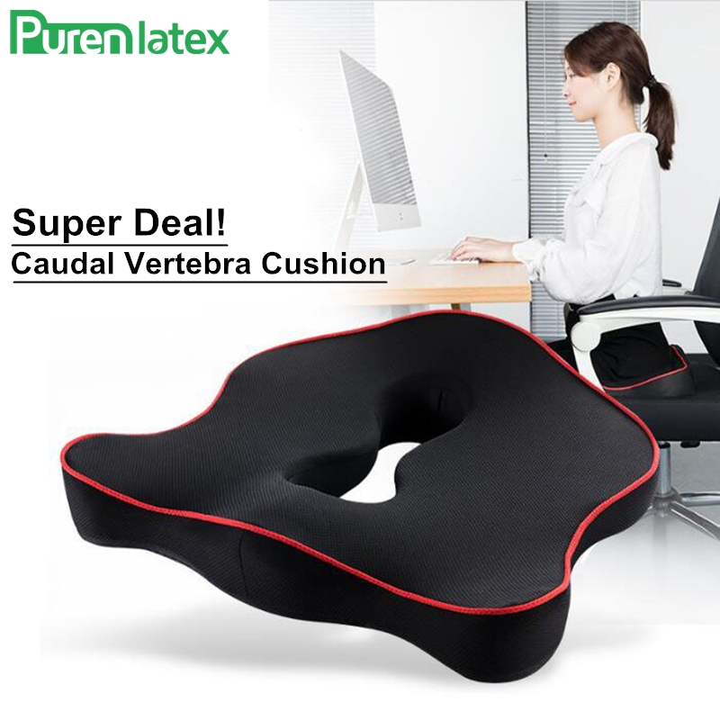 PurenLatex Memory Foam Cushion On Chair Protect Orthopedic Pillow Coccyx Cushion Pad Car Seat Mats Prevent Hemorrhoid Treat