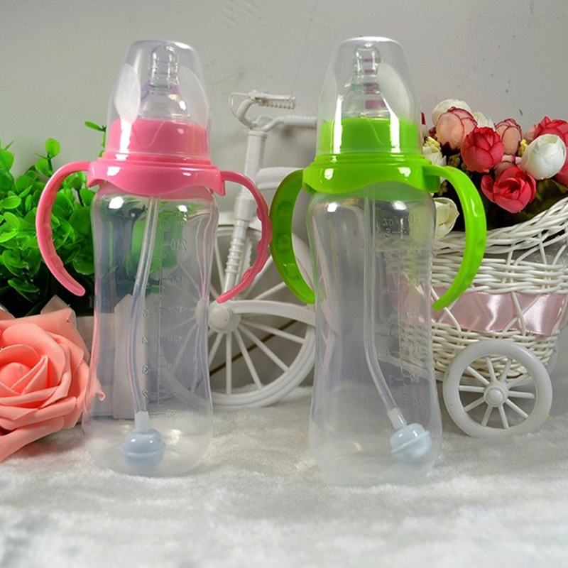 240ml / 60ml Cute Baby Bottle Infant Newborn Cup Learn Feeding Drinking Handle Water Bottle Kids Straw Juice Random Colors