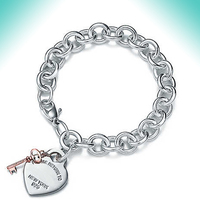Bulgaria Hearts and key bracelet original 100%925 sterling silver women's free shipping jewelry fashion exquisite have logo 1:1