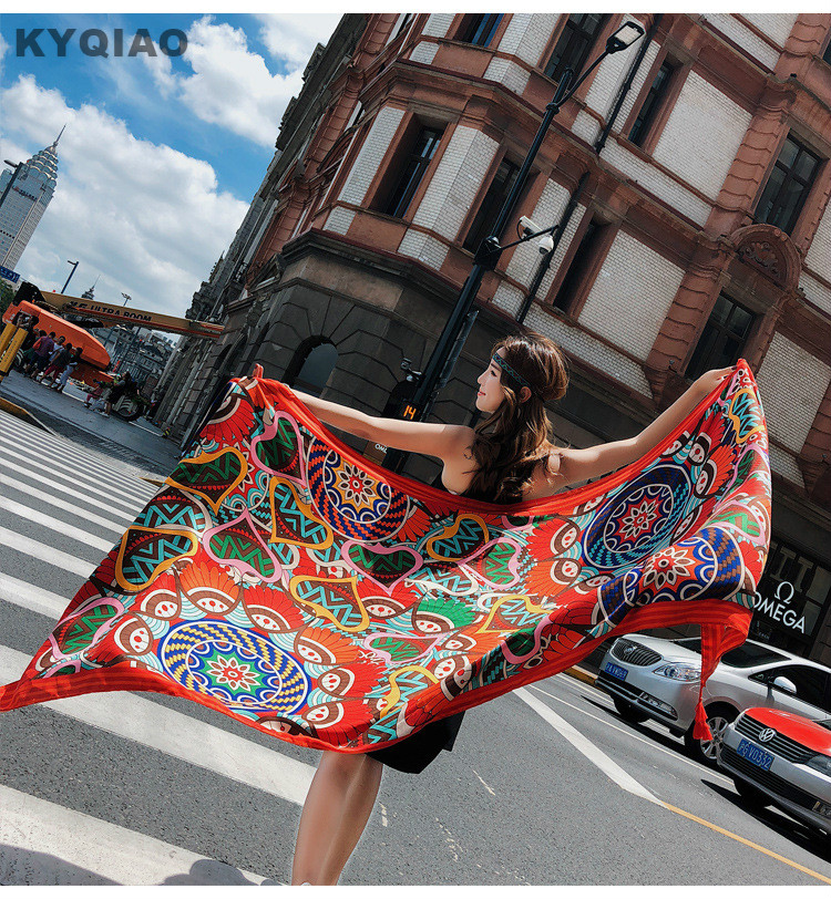 KYQIAO Vintage Design Head Scarf Women Autumn Winter Mexico Style Hippie Designer Long Printed Neck Scarf Foreign Orders