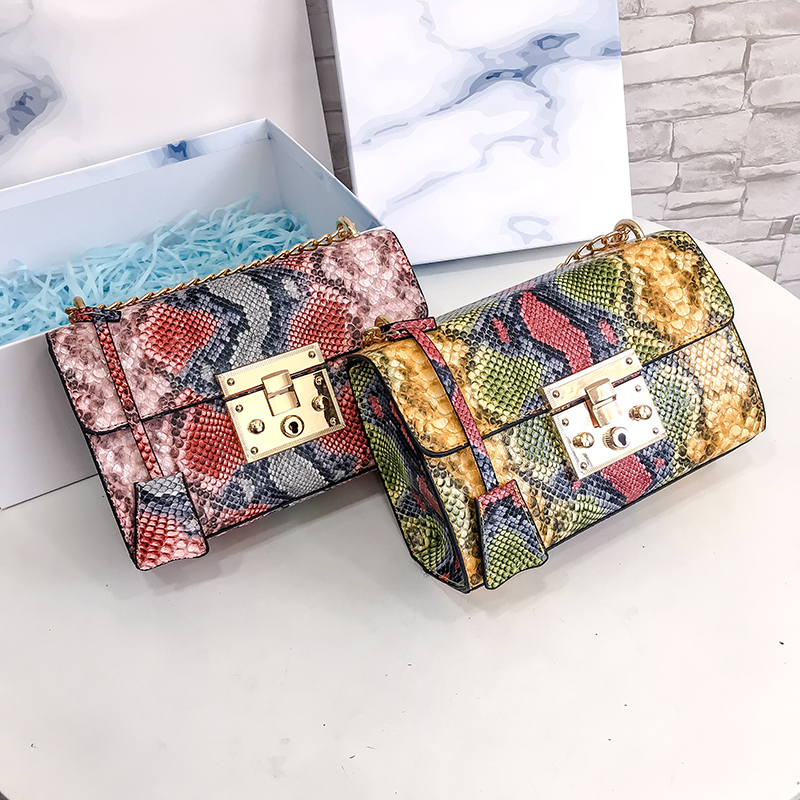 Snake Pattern Ladies Small Square Bag New Fashion High Quality Casual Wild Shoulder Messenger Bag in Top Handle Bags from Luggage Bags