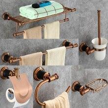 AOBITE Bath Accessories Rose Gold Wall Mount Towel Rack Toilet Brush Paper towel Soap Holder Bathroom Hardware Sets 5200
