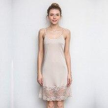 Summer Fashion V-neck New Women Woman Lace Lady Girl Soft Silk Dress Full Slip Night Skirt YH152