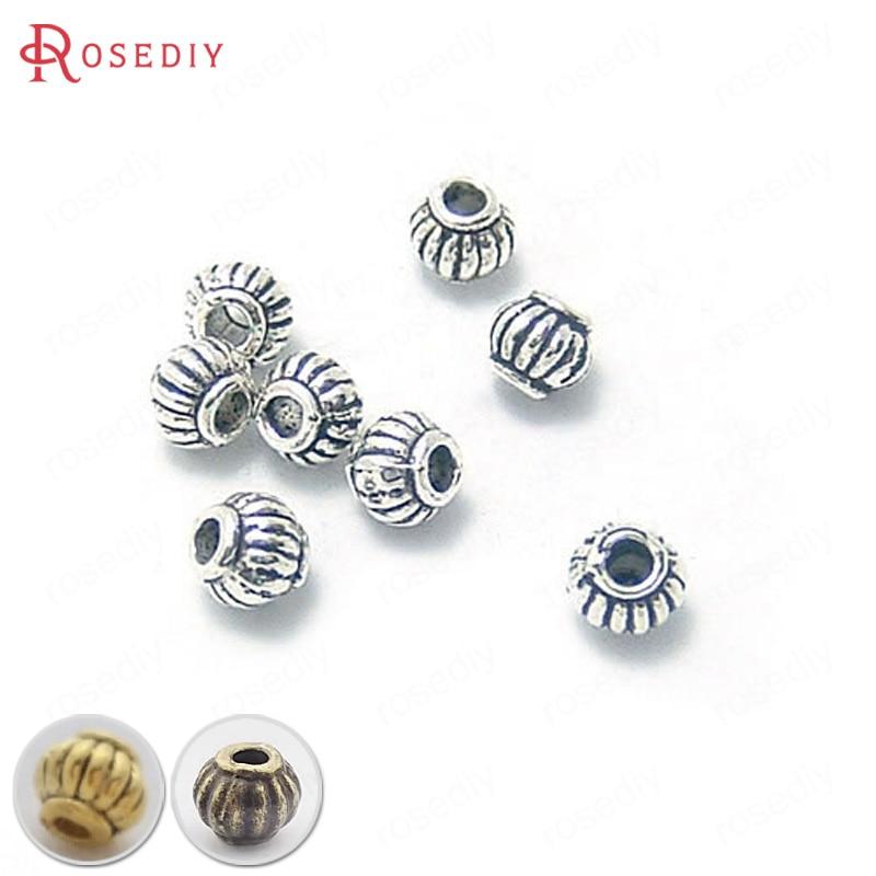 (4344-2)100PCS 5x4MM Antique Silver Zinc Alloy Pumpkin Spacer Beads Bracelet Beads Diy Jewelry Findings Accessories Wholesale