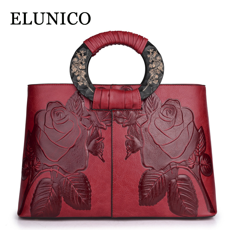 ELUNICO Autumn Shoulder Bags Handbags Women Famous Brands Flower Bride Tote Bag Ladies Vintage Floral Messenger Bag Sac A Main