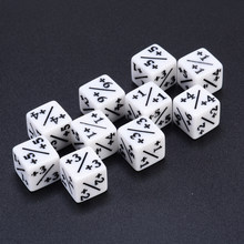 10pcs White Dice Counters +1/+1 For Magic The Gathering & MTG Games Poker Party Bar Gambling Board Desktop Funny Outdoor Dice(China)