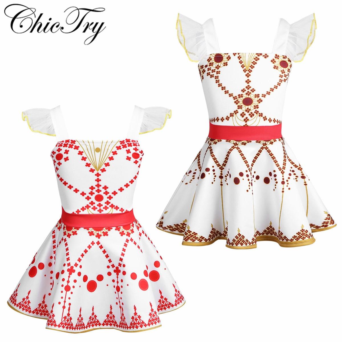 Girls Ballet Dancewear Tutu Skirt Dress Ruffled Sleeves Ballet Dance Gymnastics Ballerina Fairy Cosplay Performance Costumes