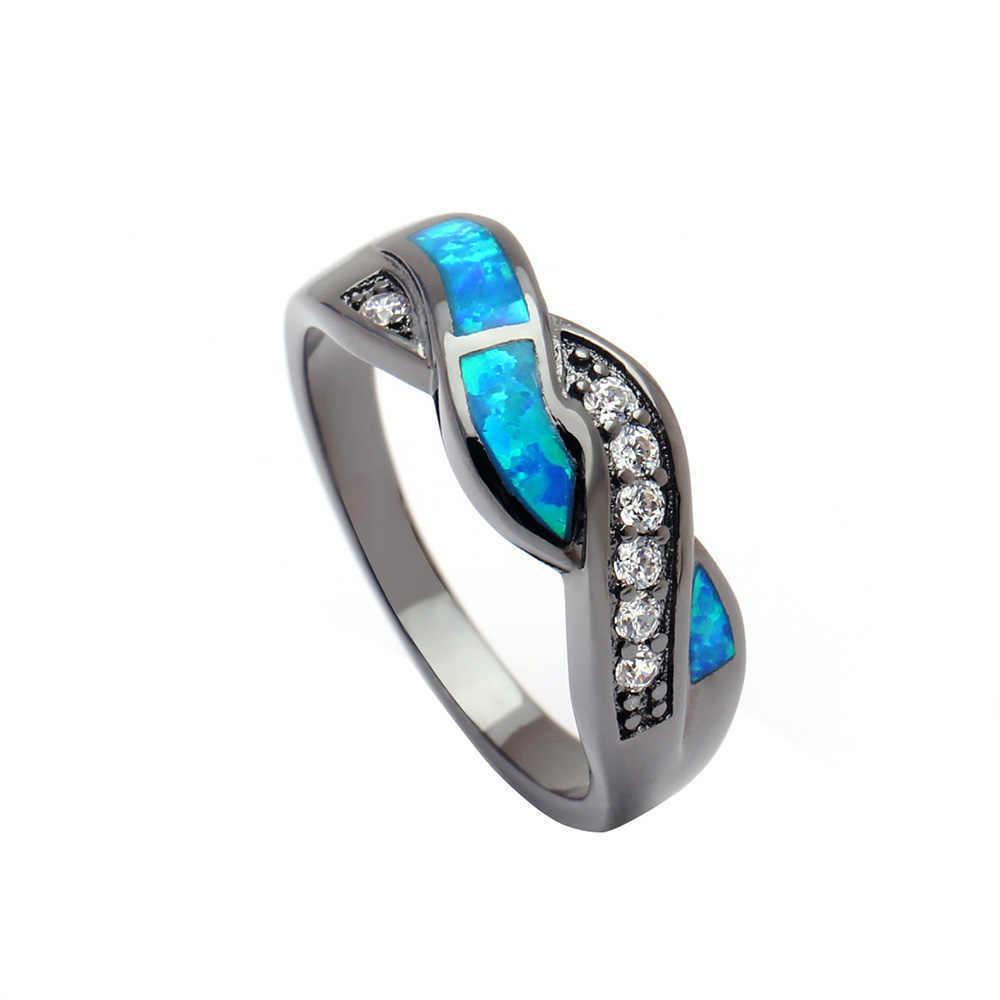 Vintage Black Gun Plated Wave Blue Opal Rings For Women Wholesale
