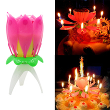 Romantic Musical Candle Lotus Flower Party Gift Art Happy Birthday Lights DIY Cake Decoration