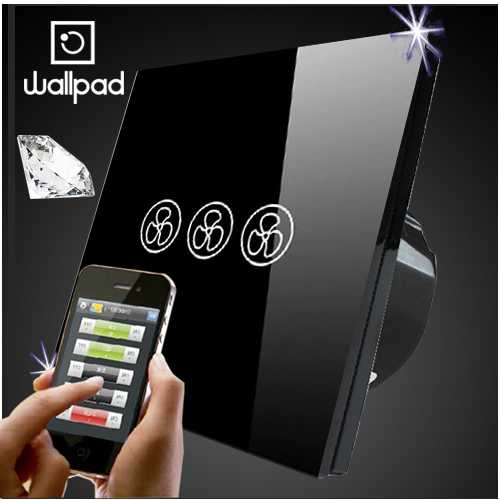 Wallpad EU UK Standard Crystal Glass Black Wifi Fan Speed Switch,Wireless Remote control wall Fan touch switch,Free Shipping eu 1 gang wallpad wireless remote control wall touch light switch crystal glass white waterproof wifi light switch free shipping