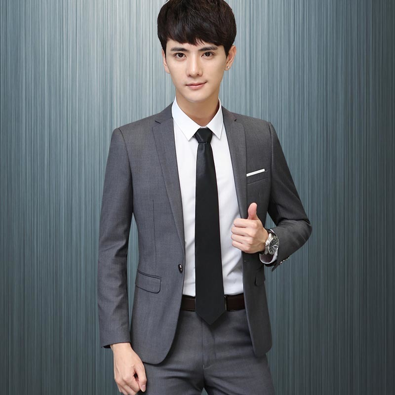 92fbbb57e2 made mens suits light gray one button wool wedding suits groom bridegroom  jacket with pant A03