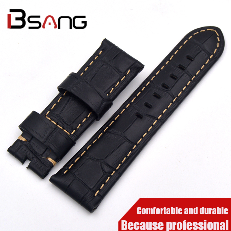 2017 Specials handmade crocodile leather strap 22MM 24MM fashion quality bamboo pattern leather strap free shipping specials