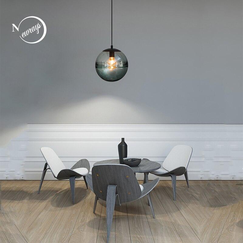Lampes suspendues à boule de verre à motif d'eau E27 lampes suspendues à tête unique pour cuisine salon chambre restaurant café chambre d'hôtel
