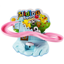 Animals Rotating Slide Toy Funny Cartoon Children Kids Gift Non-electric Tracks Climbing Plastic Pink Blue Color 10*15*7cm