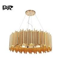 Post Modern Design Gold Aluminum Tube Chandeliers Italy Design Chandelier Lighting Pendientes E14 Lustres Led Lamp
