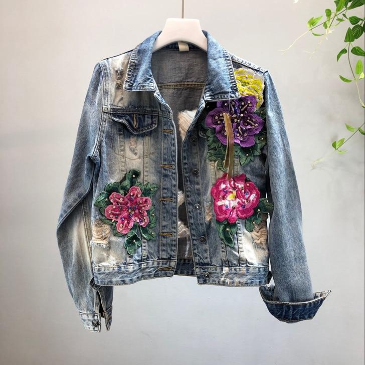 Fleur Lavage 2018 Automne 3d Femmes Étudiants Perle À Trou Courte Manteaux L'eau De Mode Mince Nouvelles Outwear Bleu Jean Denim Manteau Veste Gloria Yrw8qdY