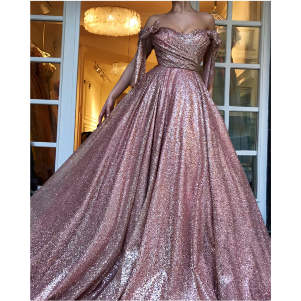 Wonderful Princess Sequinse   Evening     Dress   2019 Boat Neck Puffy Formal Occasion   Dresses   Custom Made Sparkly Party Gowns Cheap