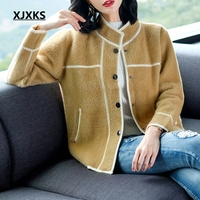 XJXKS 2018 New Autumn And Winter Clothes Women Long Sleeve Single Breasted Casual Cardigan Thick Warm Women Soft Woolen Coats